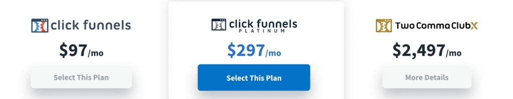 Shopify vs Clickfunnels - Clickfunnels pricing table