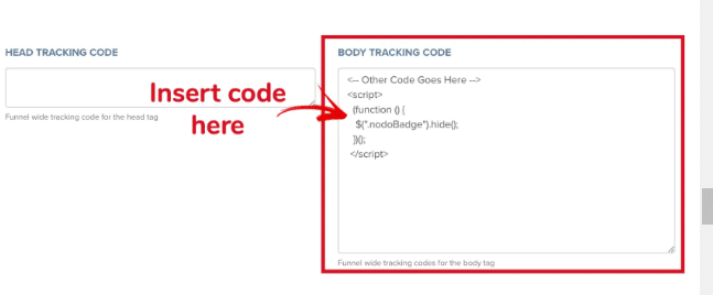 Clickfunnels body tracking code section