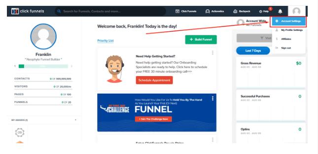 Click Clickfunnels Account Settings
